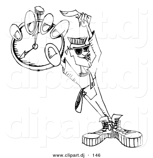 Vector Clipart of a Dj Guy Holding Pocket Watch - Black and White Outline