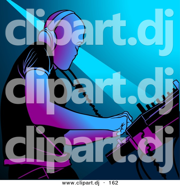 Vector Clipart of a DJ Mixing Music