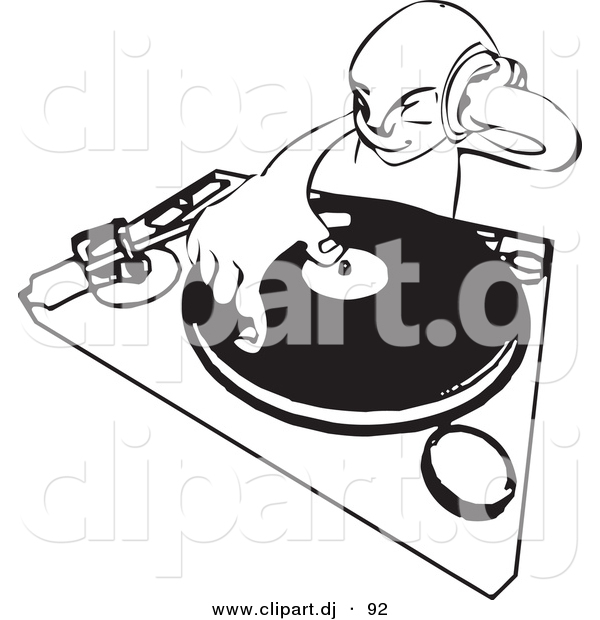 Vector Clipart of a DJ Mixing Records While Holding Headphone up to His Ear - Black and White Line Drawing