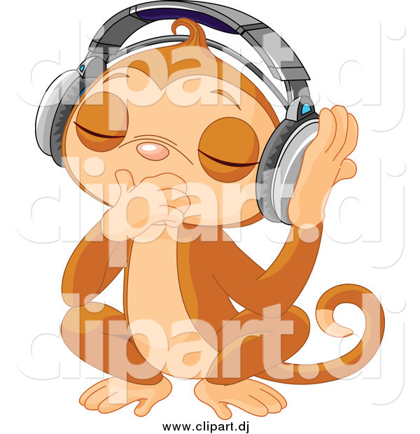 Vector Clipart of a DJ Monkey Closing His Eyes and Listening to Music with Headphones