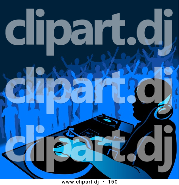 Vector Clipart of a DJ Playing Music with People Dancing in Blue Background