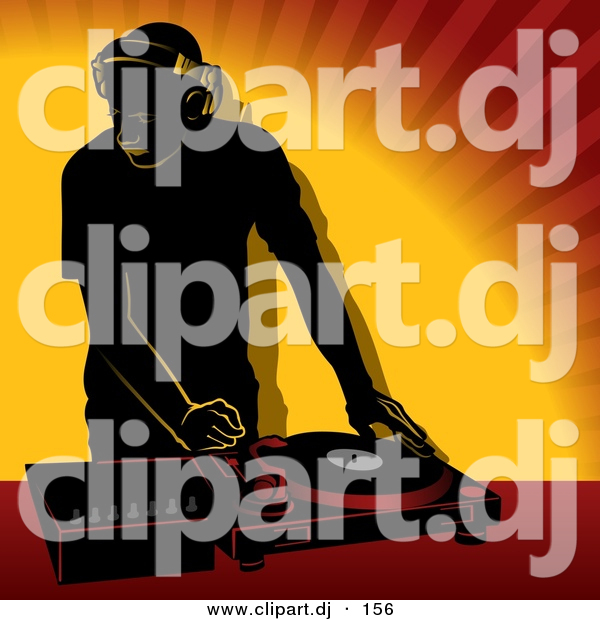 Vector Clipart of a DJ Using Single Record Player Mixer over Orange Background