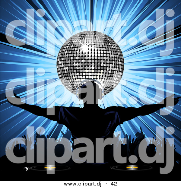 Vector Clipart of a Dj Wearing Headphones in Front of Silver Disco Ball over Bursting Blue Background