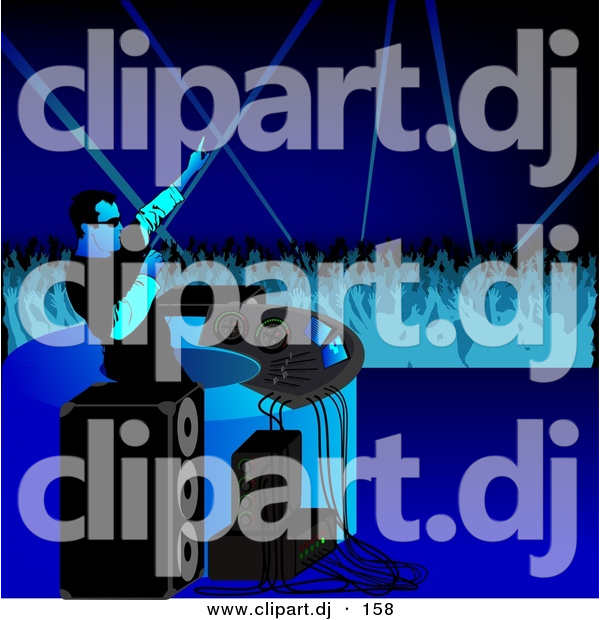 Vector Clipart of a DJ Working up Crowd of Dancers at a Party