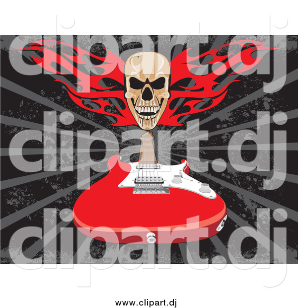 Vector Clipart of a Flaming Skull over a Red Electric Guitar on a Gray and Black Background