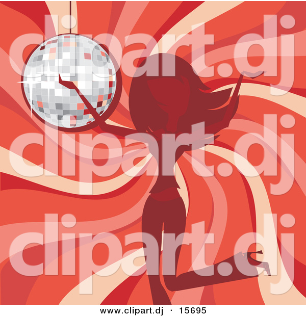 Vector Clipart of a Girl Dancing in Front of Red Swirl Background and a Disco Ball