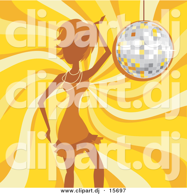 Vector Clipart of a Girl Dancing over Yellow Swirling Background with Sparkling Disco Ball