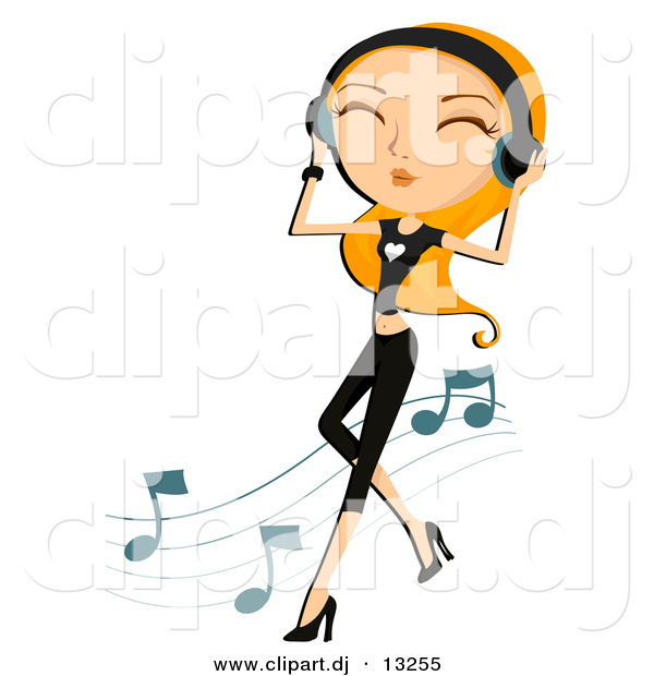 Vector Clipart of a Girl Dancing While Listening to Music Through Headphones - Cartoon Version