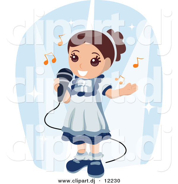 Vector Clipart of a Girl Singing into a Microphone - Cartoon Styled Design