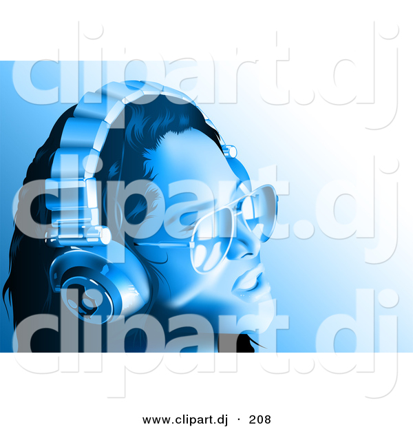 Vector Clipart of a Girl Wearing Headphones and Sunglasses - Blue Toned Version