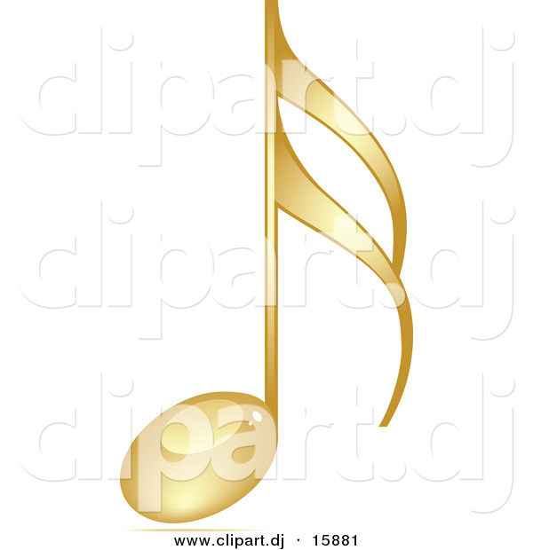 Vector Clipart of a Gold 3d Music Note