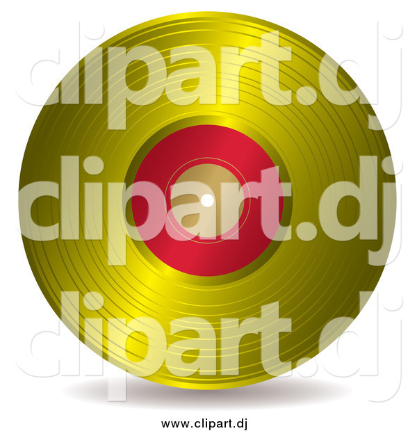 Vector Clipart of a Gold and Red Vinyl Record Album