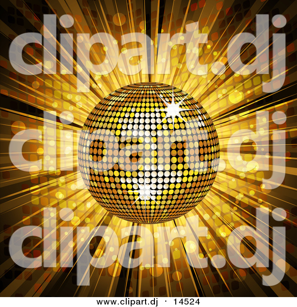 Vector Clipart of a Gold Disco Ball and Mosaic Background