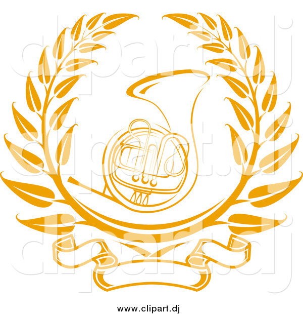 Vector Clipart of a Gold French Horn Instrument Surrounded by a Laurel Design with a Blank Banner Below