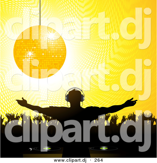 Vector Clipart of a Golden Disco Ball over Silhouetted Crowd and Party DJ