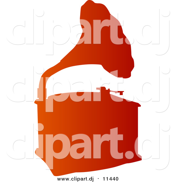 Vector Clipart of a Gradient Orange Phonograph