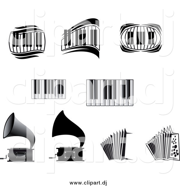 Vector Clipart of a Grammophones, Accordions and Piano Keyboards