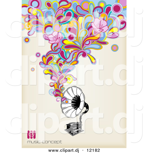 Vector Clipart of a Gramophone with Colorful Music and Flowers