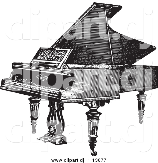 Vector Clipart of a Grand Piano - Vintage Black and White Sketched Version