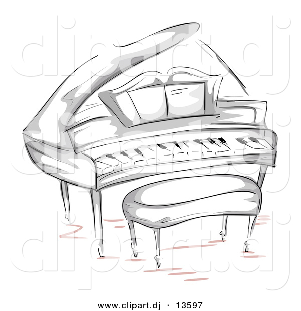 Vector Clipart of a Grand Piano with Bench - Sketched Version