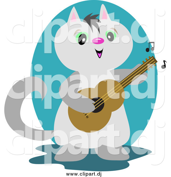 Vector Clipart of a Gray Guitarist Cat Playing Music