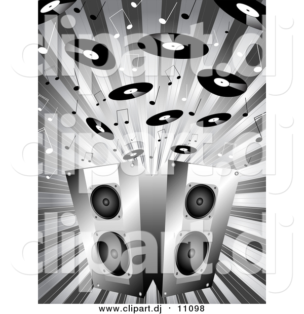 Vector Clipart of a Grayscale Background of Music Notes and Records Above Two Stereo Speakers on a Burst
