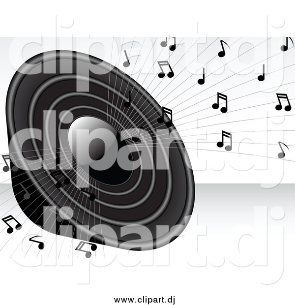 Vector Clipart of a Grayscale Loud Radio Speaker Blaring Loud Music with Notes