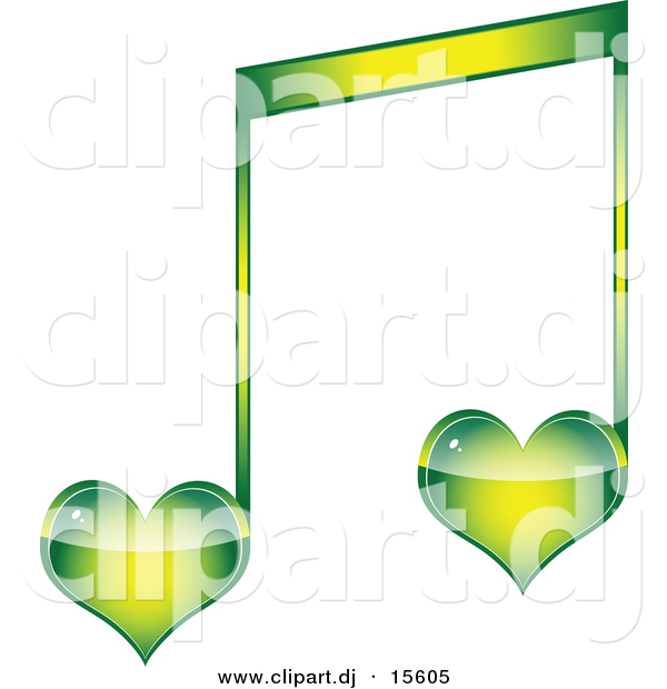 Vector Clipart of a Green Love Heart Music Note