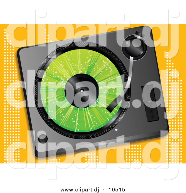 Vector Clipart of a Green LP Record Playing in a Record Player over an Orange Background