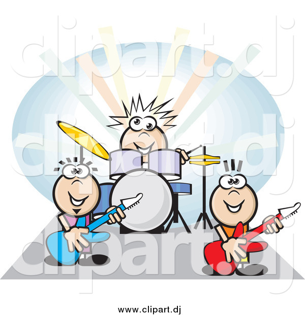 Vector Clipart of a Group of Musicians Playing the Drums and Guitars at a Rock Concert