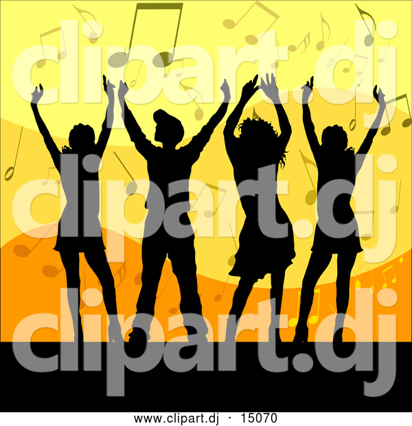 Vector Clipart of a Group of Silhouetted Men and Women Dancing over an Orange and Yellow Background of Music Notes