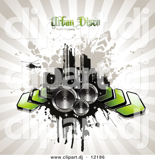 Vector Clipart of a Grunge City with Arrows and Speakers over Beige Bursing Background