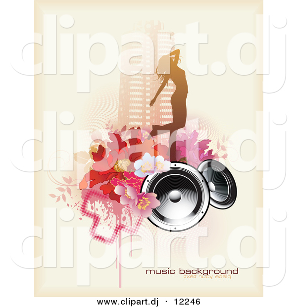Vector Clipart of a Grunge Floral, Speaker, Urban City Girl Music Background