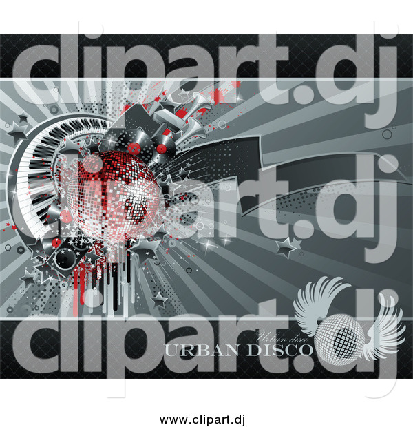 Vector Clipart of a Grungy Background of Drips, Speakers, Stars, Keyboards and a Red Disco Ball over Gray