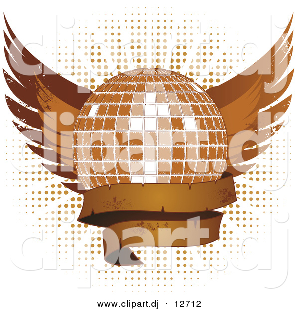 Vector Clipart of a Grungy Disco Ball with Wings and a Blank Banner over Halftone on White