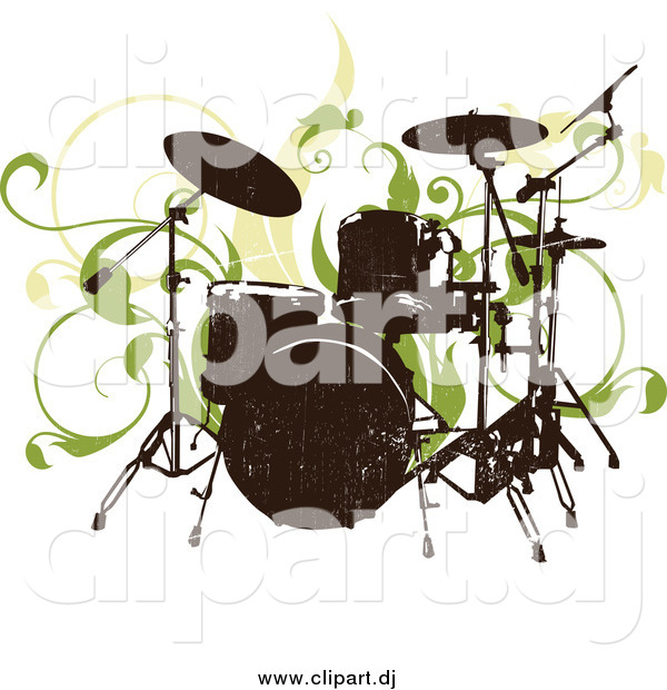 Vector Clipart of a Grungy Drum Set and Green Vines on a White Background