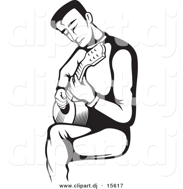 Vector Clipart of a Guitarist Strumming - Black and White Version