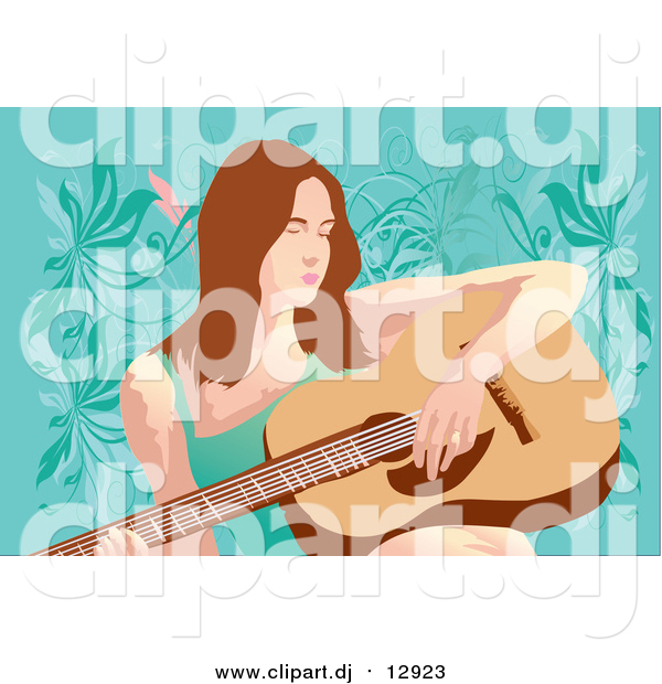 Vector Clipart of a Guitarist Woman