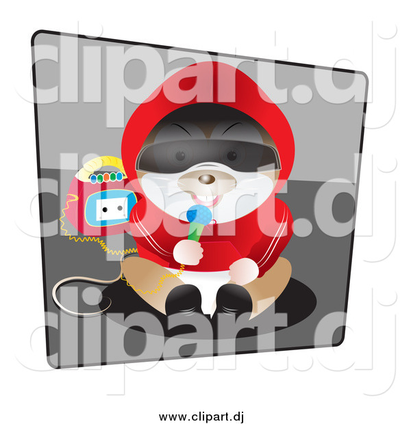 Vector Clipart of a Hamster in Clothes, Sitting and Singing into a Microphone with a Boombox