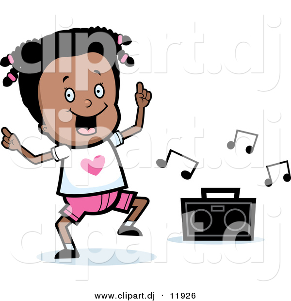 Vector Clipart of a Happy Black Girl Dancing to Music Box - Cartoon Style