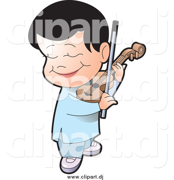 Vector Clipart of a Happy Black Haired Boy Playing a Violin