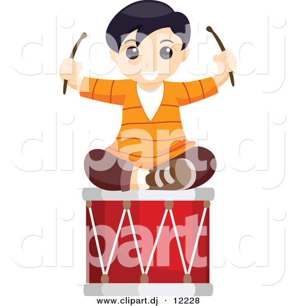 Vector Clipart of a Happy Boy Sitting on Large Musical Drum - Cartoon Styled Design