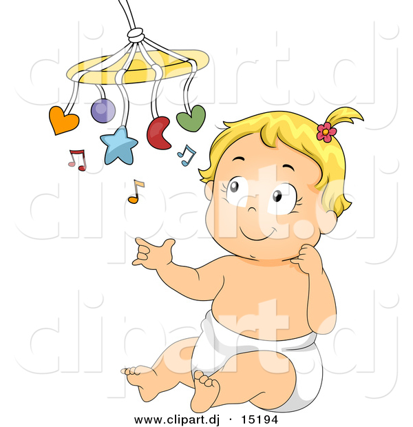 Vector Clipart of a Happy Cartoon Baby Girl Playing with Her Music Toy