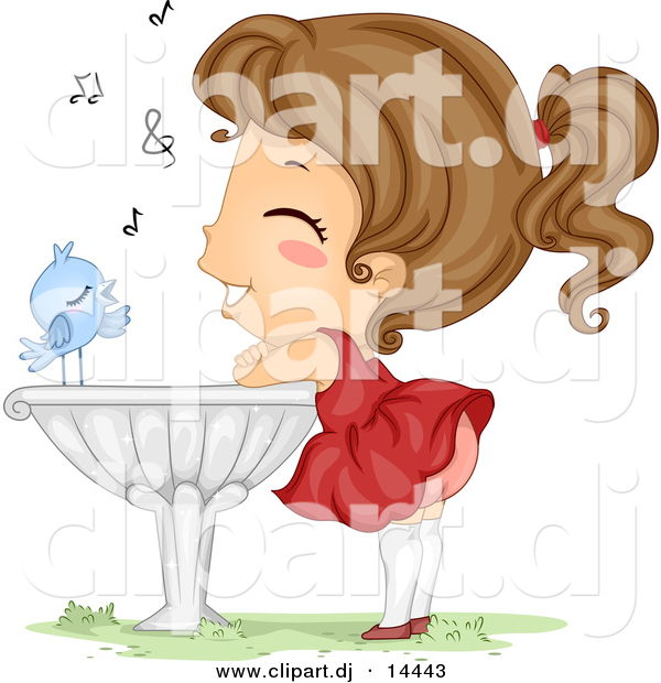 Vector Clipart of a Happy Cartoon Blue Bird Singing to a Girl Listening and Leaning Against a Bird Bath