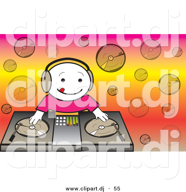 Vector Clipart of a Happy Cartoon DJ Kid Mixing Dual Records on a Turntable