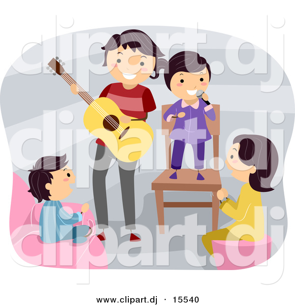 Vector Clipart of a Happy Cartoon Father Playing a Guitar Around Singing Kids