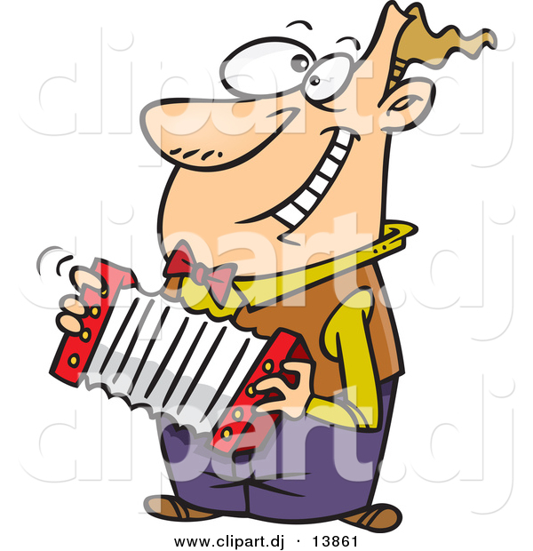 Vector Clipart of a Happy Cartoon Man Playing Accordion While Grinning