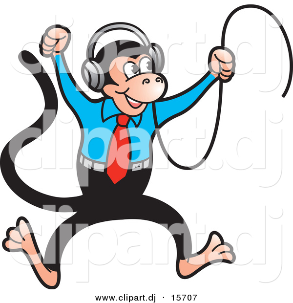Vector Clipart of a Happy Cartoon Monkey Dancing to Music in His Headphones
