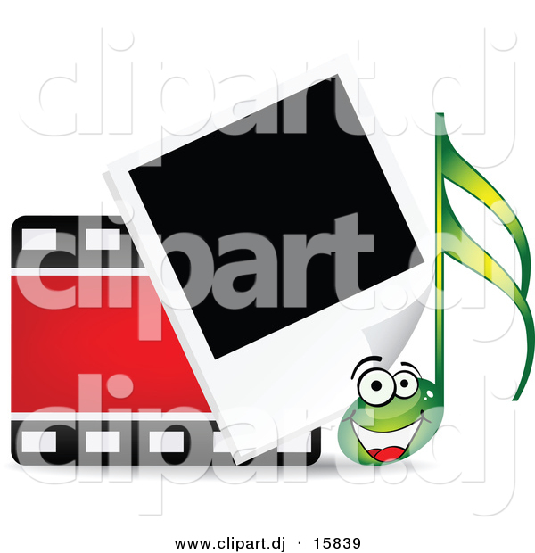 Vector Clipart of a Happy Cartoon Music Note Beside Film Strip and Polaroid Photograph