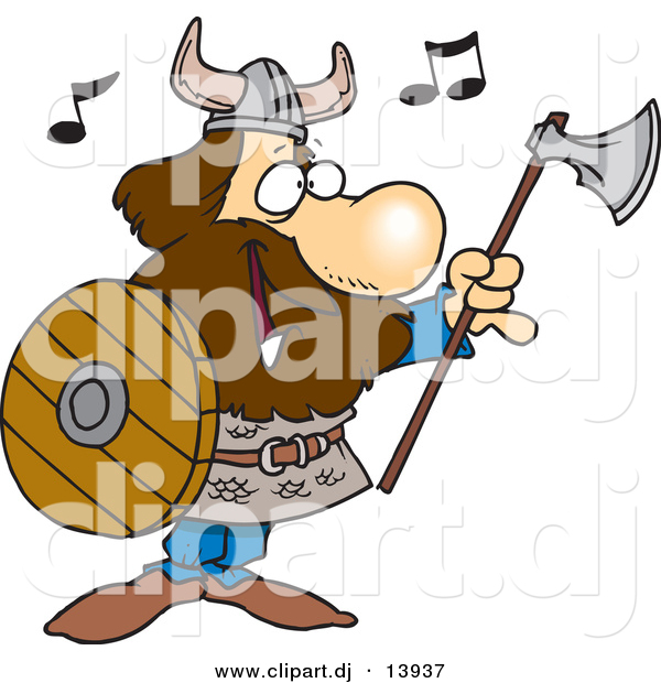 Vector Clipart of a Happy Cartoon Viking Singing with an Ax and Shield